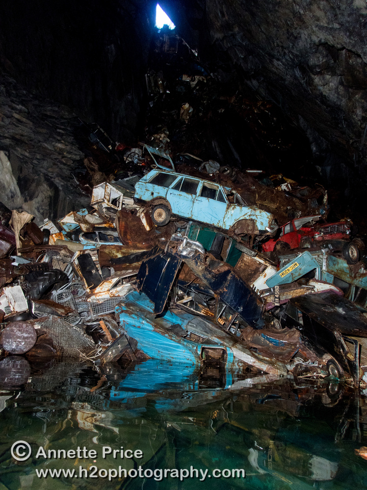 """Car gravewyard"" in Gaewern Slate Mine. North Wales, UK"