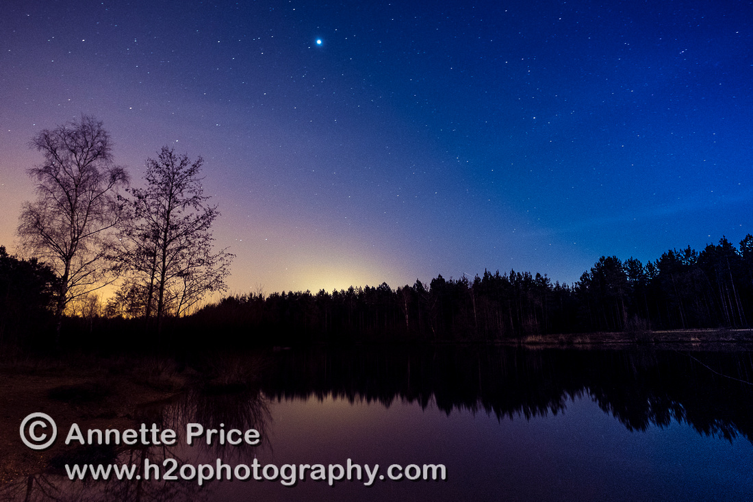 Jupiter and stars, Bramshill Lake, near Reading, UK
