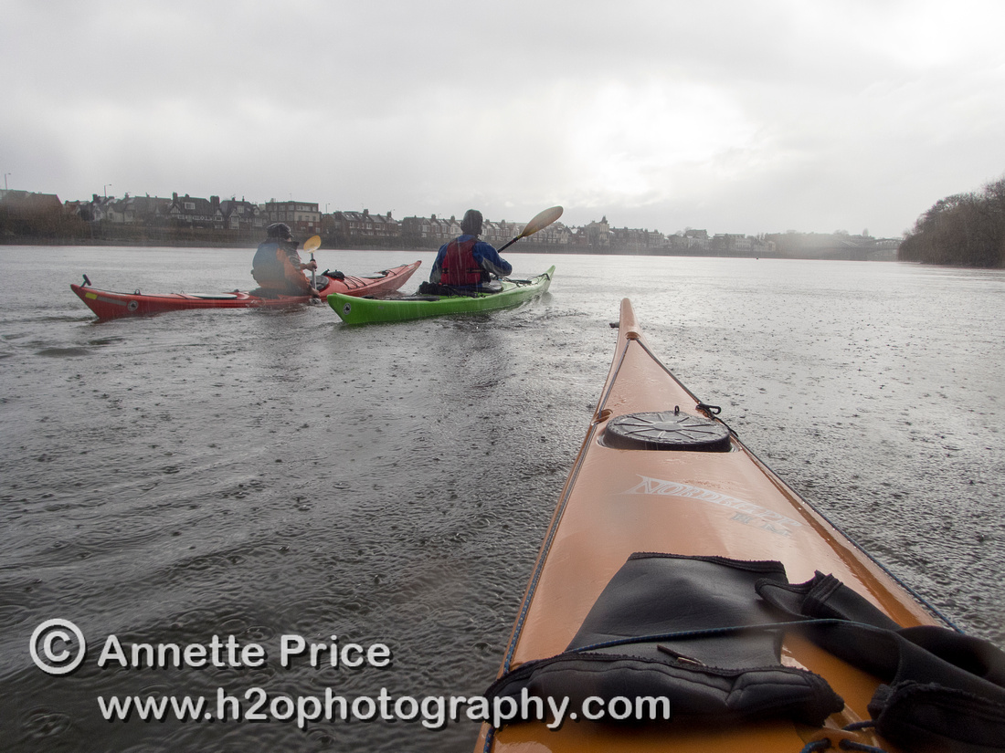 Kayaking on the River Thames near Chiswick, in the rain. London