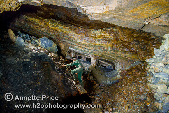 Dinas Rock Silica Mine. Large chamber supported by rock pillars. South Wales, UK