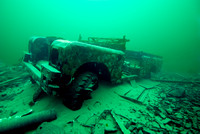 Submerged Series 3 Land Rover at a depth of  22 meters at the Stoney Cove National Diving Center in Leicestershire.