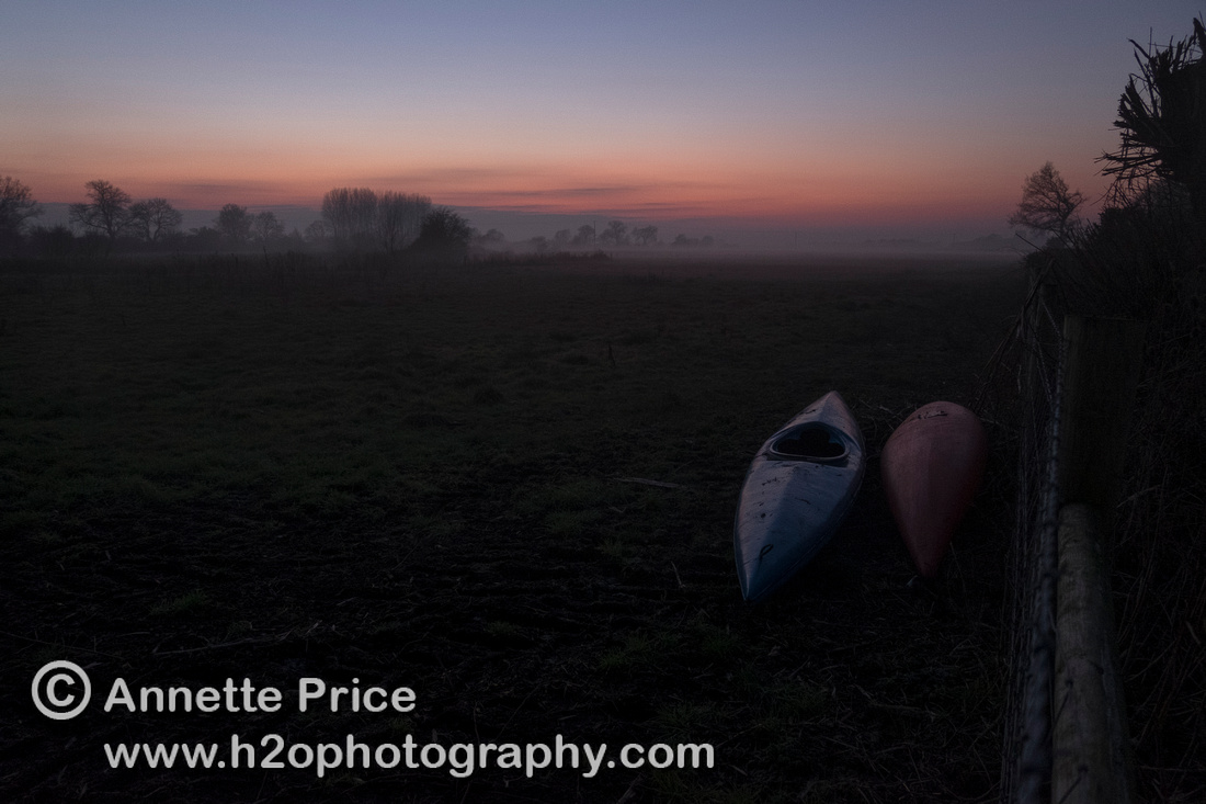 Night descends, we get off the river at the bridge on Nell Hill. Our kayaks are in a nearby field.