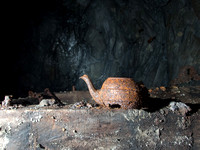 Tea pot left behind by the miners in Gaewern Slate Mine. North Wales, UK
