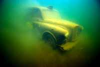 Underwater taxi photographed in a lake in Wraysbury.  The taxi is at a depth of 6 meters.