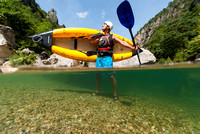 Paddling inflatable kayaks in France