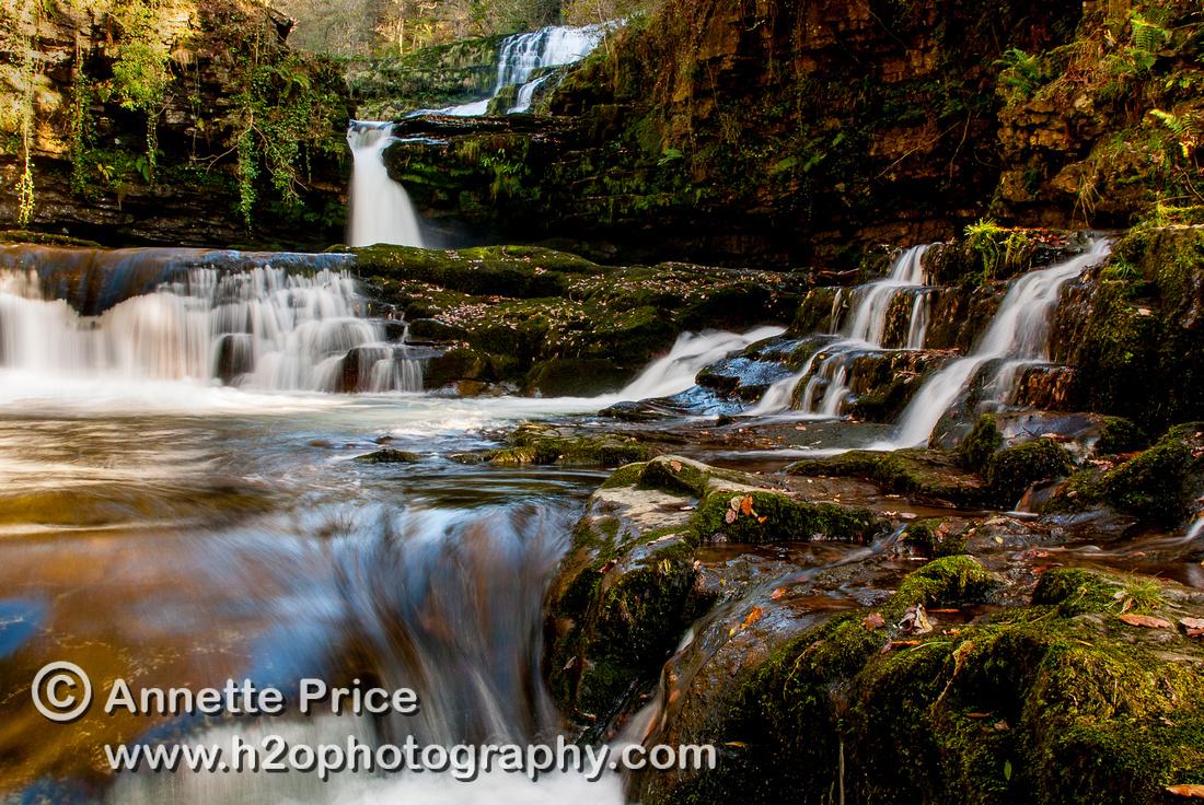 Sgwˆd Isaf Clun-Gwyn. River Mellte, Ystradfellte, Brecon Beacons, Wales,UK