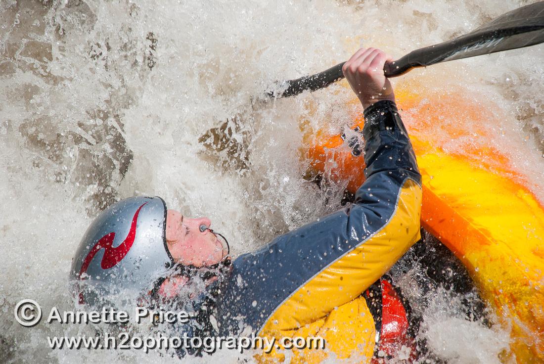 Kayaking on Shepperton Weir, River Thames, UK