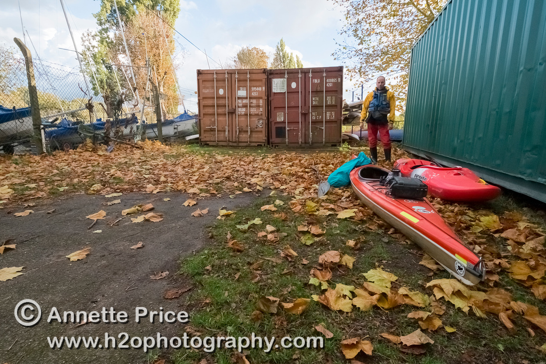 This is where our journey begins - Putney Bridge Canoe Club, (right-hand brown container) Barn Elms