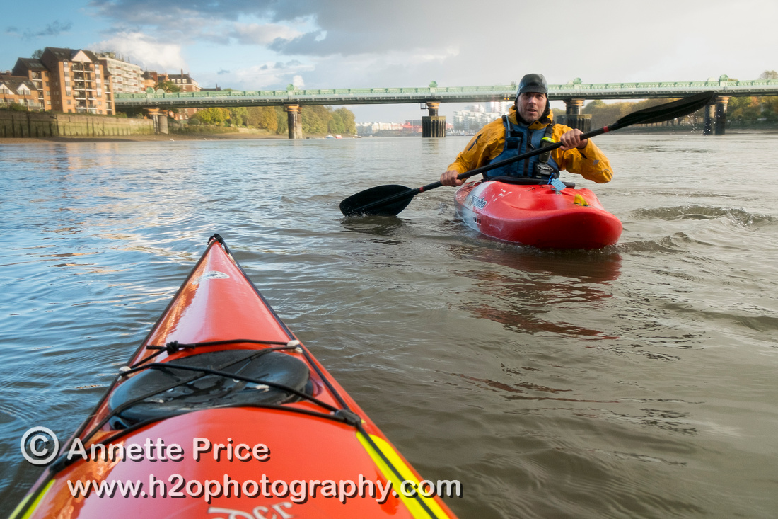 Paddler Rick Stanton at Putney, River Thames, London