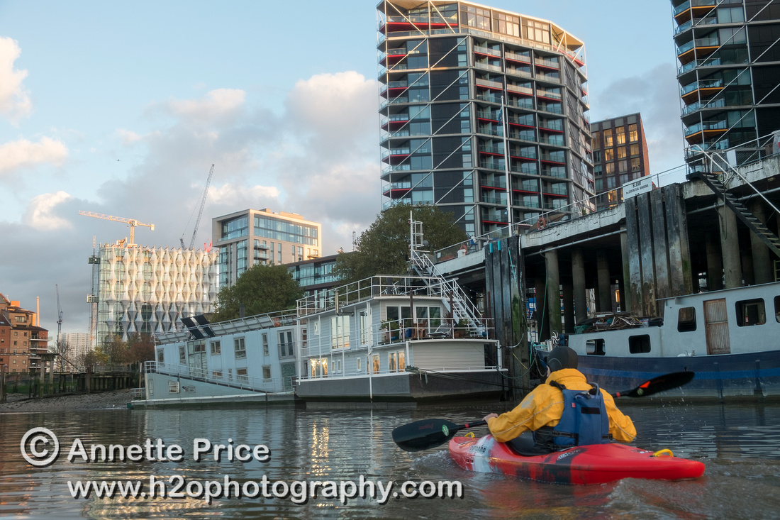 Houseboats on the south side of the river, near Vauxhall, River  Thames, London