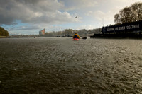 Hail stones landing on the River Thames, Putney, London.