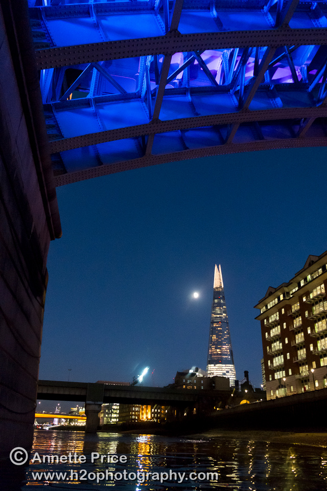 Southwark Bridge and the Shard. River Thames, London